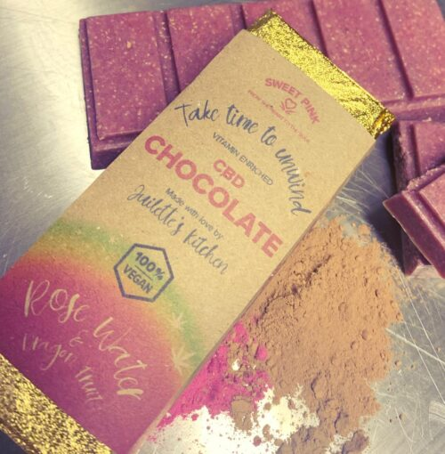 CBD Chocolate with Rose Water and Dragon Fruit