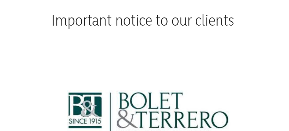 Important notice to our clients