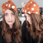 Side by side image of me wearing a terracota with white polka dots coloured turban from eadiechops on my head.
