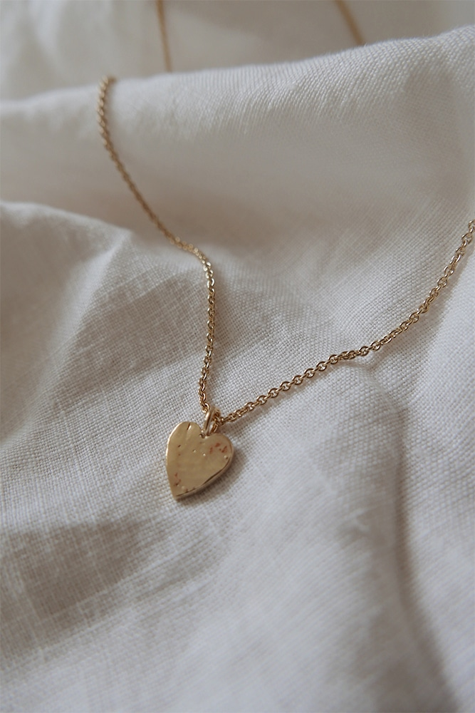 love heart necklace in a gold finish
