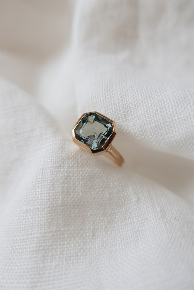 a bespoke commission for an aquamarine and 14ct gold ring