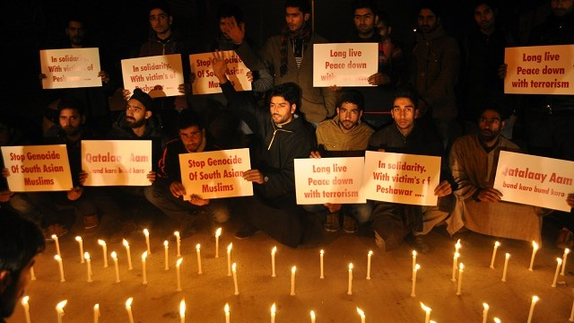 Students protest against Peshawar attack