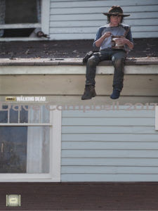 Carl eats the chocolate pudding on the roof.