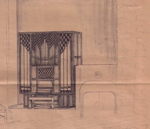 1971 Sketch for proposed Flentrop Organ placement in Lotte Lehman