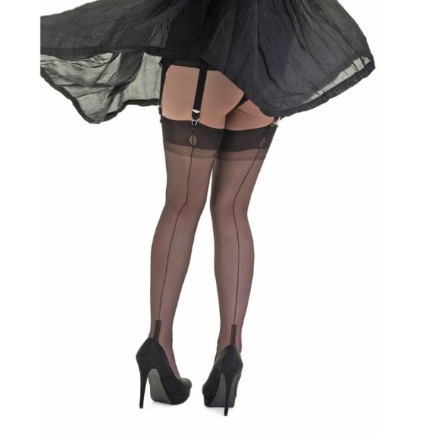 Gio Seconds Fully Fashioned stockings Cuban Heel - Black