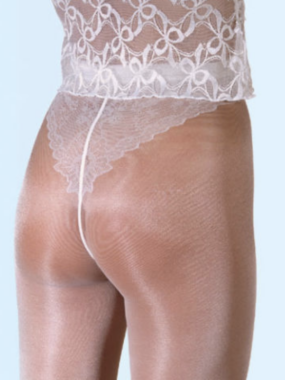 Gerbe Paris Chic Desir - Sheer to waist tights with sexy lace brief Ivory & Tan