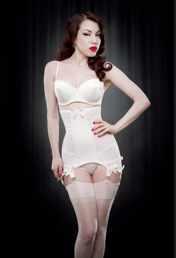 KISS ME DEADLY KMD Vargas Longline Girdle in IVORY