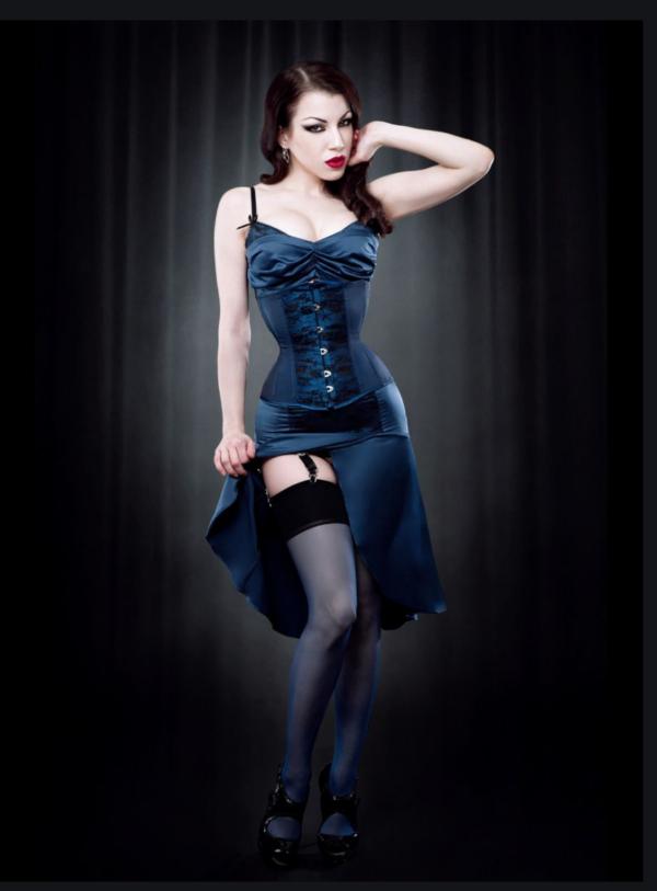 KISS ME DEADLY KMD Nylon STOCKINGS - Blue or Plum BLACK CONTRAST