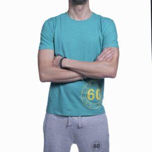 Abbigliamento tempo libero - T-shirt Uomo Sessantallora Azzurra con Logo Giallo