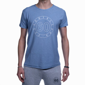T-shirt Uomo Sessantallora Azzurra con Logo Outline Bianco