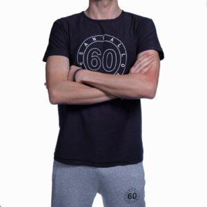 T-shirt Uomo Sessantallora Blue con Logo Outline Bianco