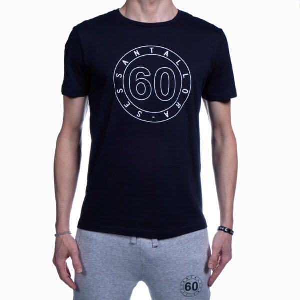 T-shirt Uomo Sessantallora Nera con Logo Outline Bianco