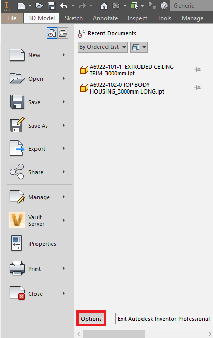 Inventor Software Options Button