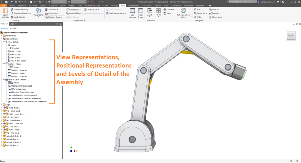 Representations and Levels of Detail of an Assembly