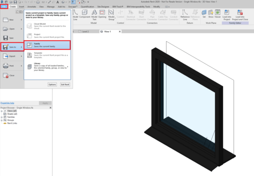 Save Family Button in Revit