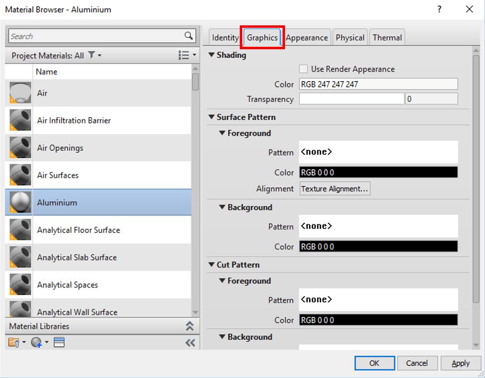 Revit Material Asset Graphics Tab