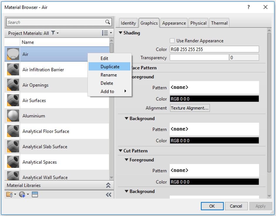 Material Duplicate Shortcut Menu
