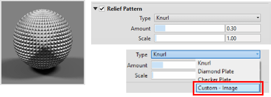 Material Asset Relief Pattern Selection