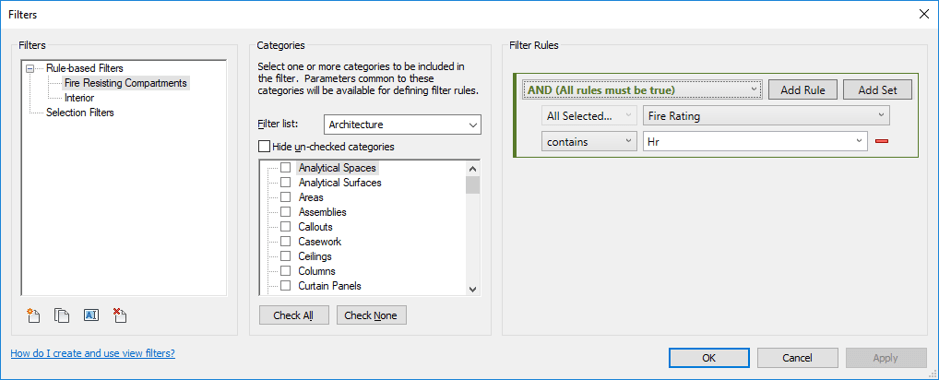 Revit Filters Dialogue Box