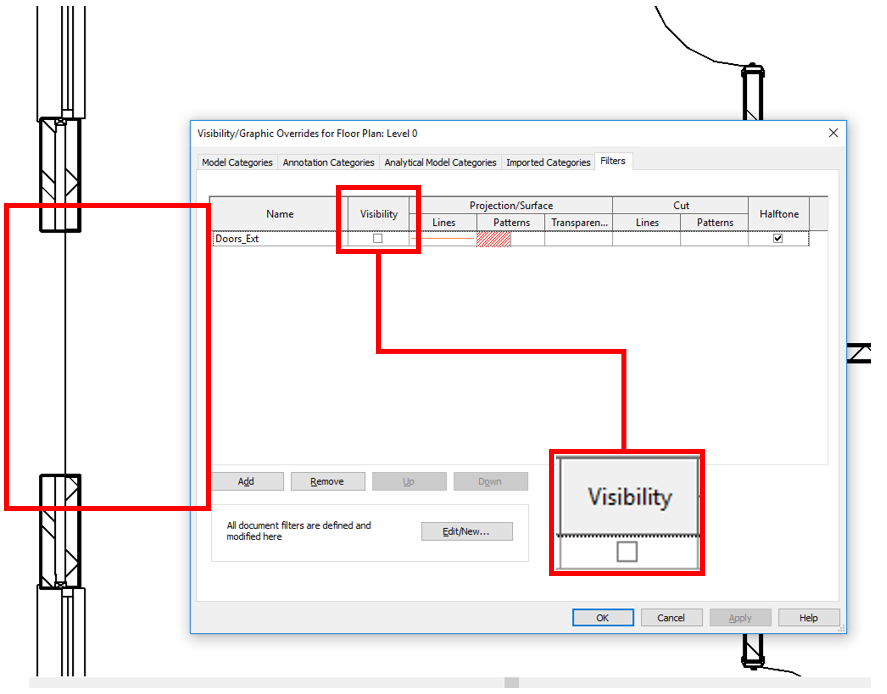 Revit Plan with Doors Filter and Visibility Toggle