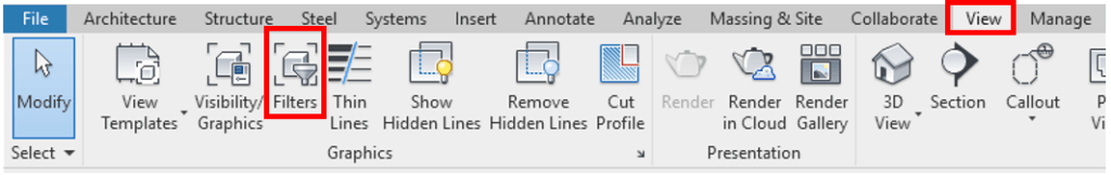 Revit Filters Ribbon Button