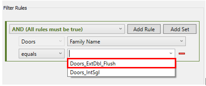 Revit Filter Rules Parameter Value