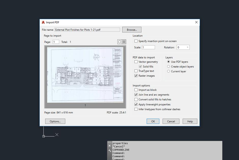 Import PDF to AutoCAD