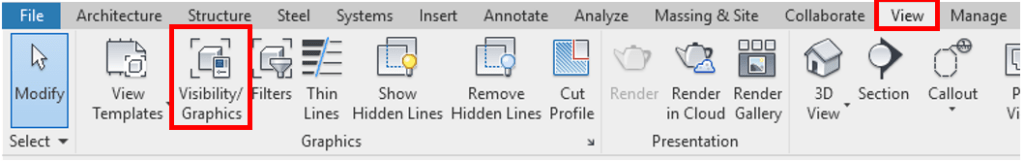 Revit Visibility Graphics Ribbon Button