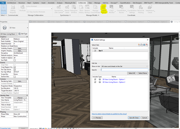 In Revit within the publish settings how to set up the sheets and views that will get uploaded to the cloud.