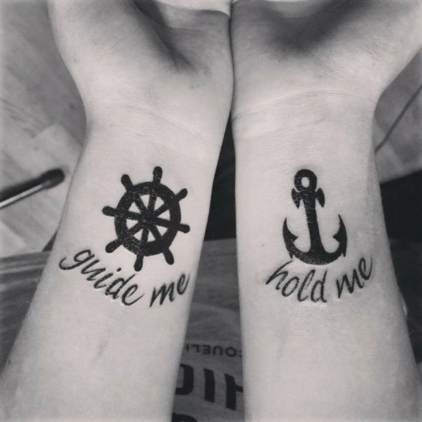 Anchor And Wheel Couple Tattoo