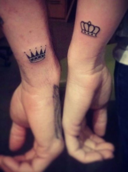 King And Queen Crowns Couple Tattoo