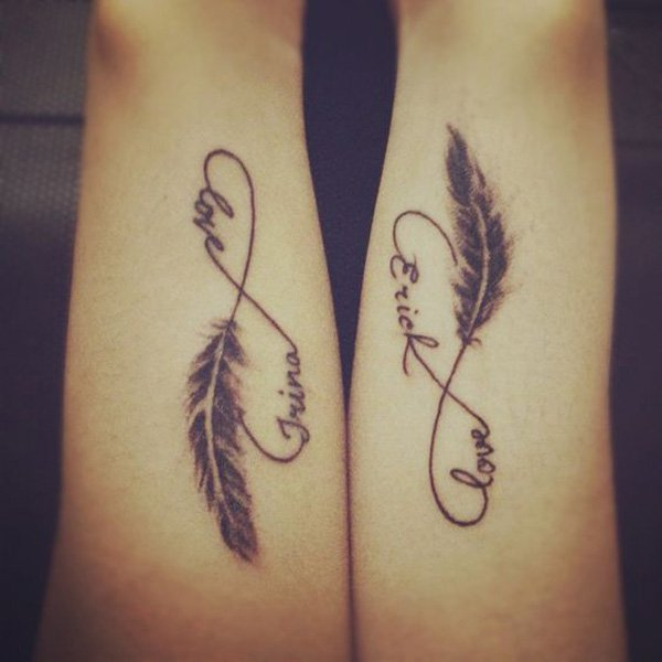 Love Feather Infinity Couple Tattoo