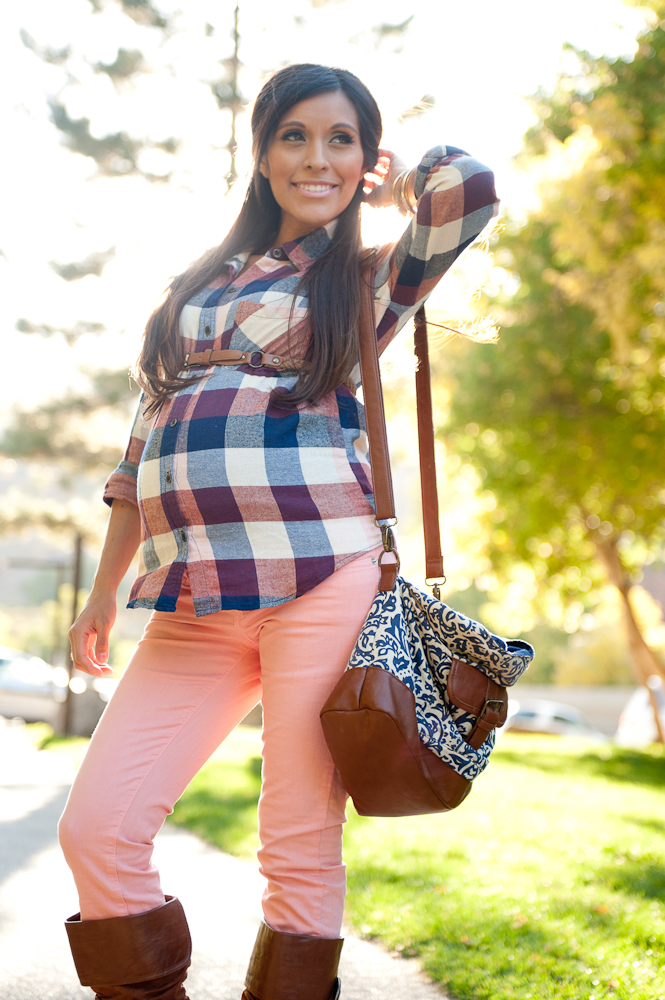 Pink Pant Checked Shirt Maternity Outfit