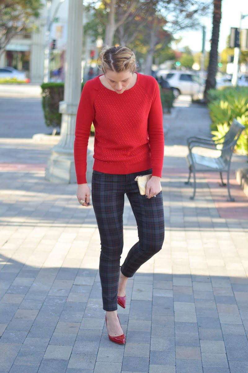 Plaid Pant With Red Dotted Sweater
