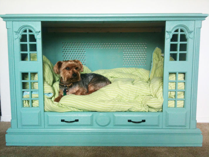Re-Purposed TV Cabinet Dog Bed