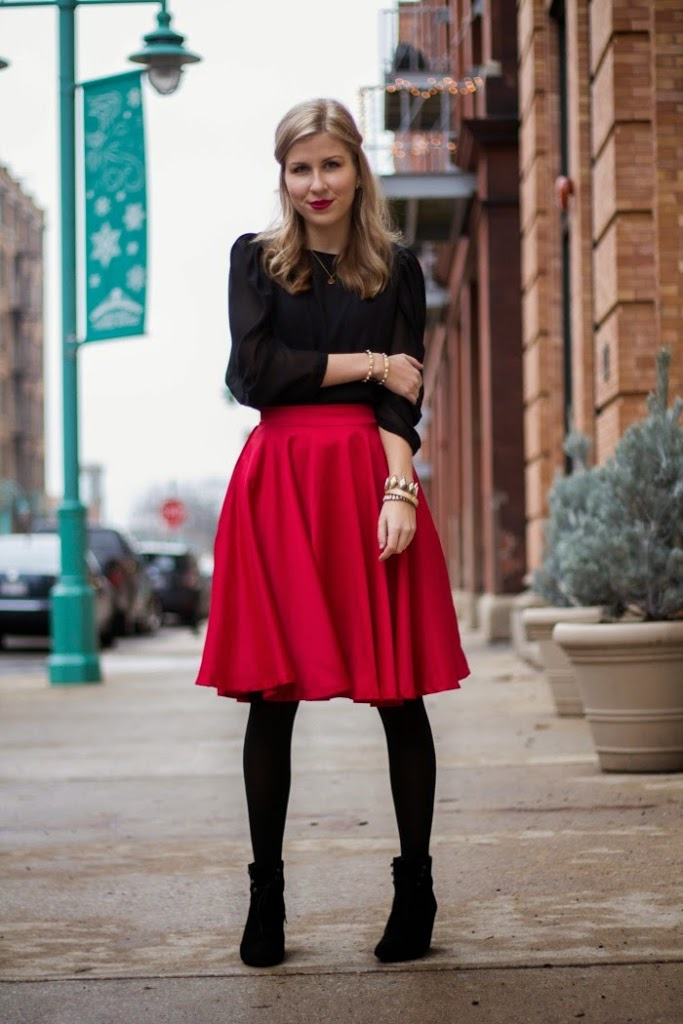 Red Midi Skirt Paired With A Crop Top