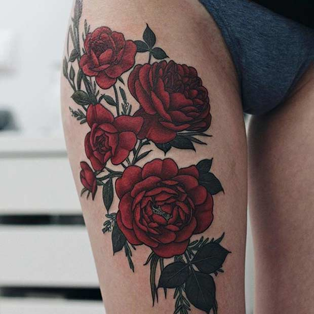 Red Roses Thigh Tattoo