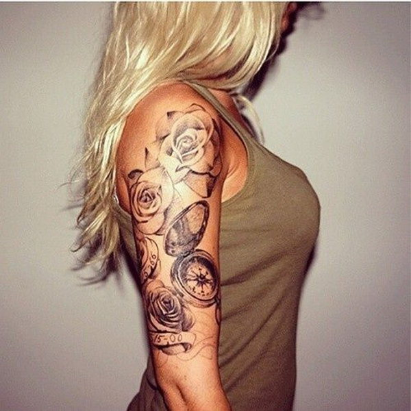 Rose Half Arm Sleeve Tattoos For Women