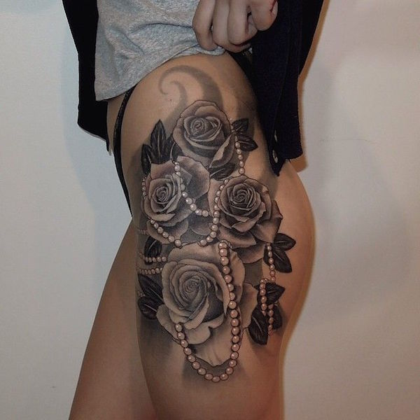 Rose Thigh Tattoos