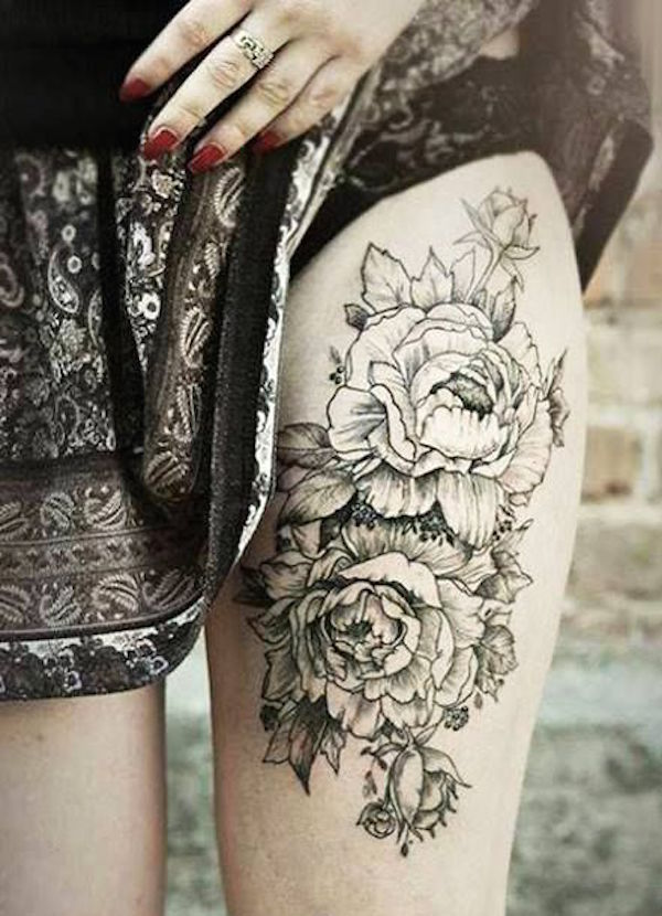 Sexy Thigh Flower Tattoo