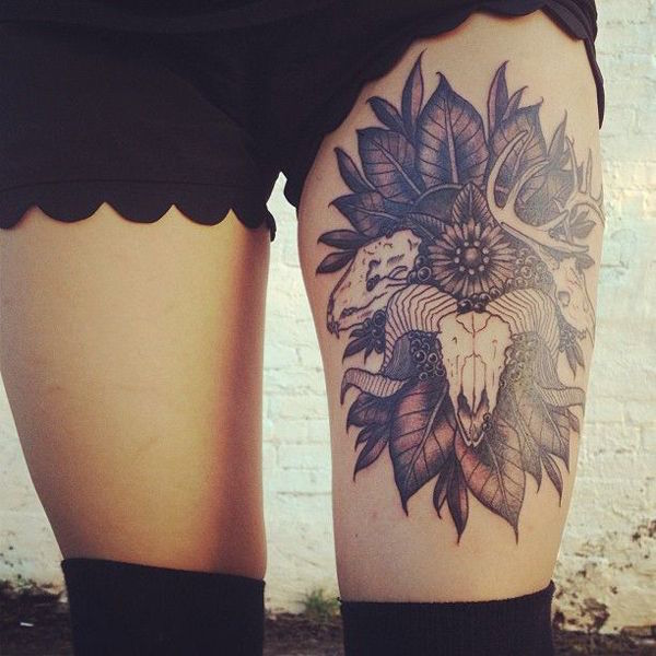 Skeleton Head Thigh Tattoo