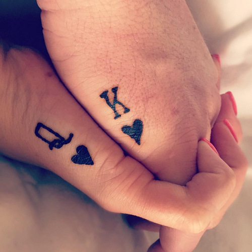 Small King Queen Couple Tattoo