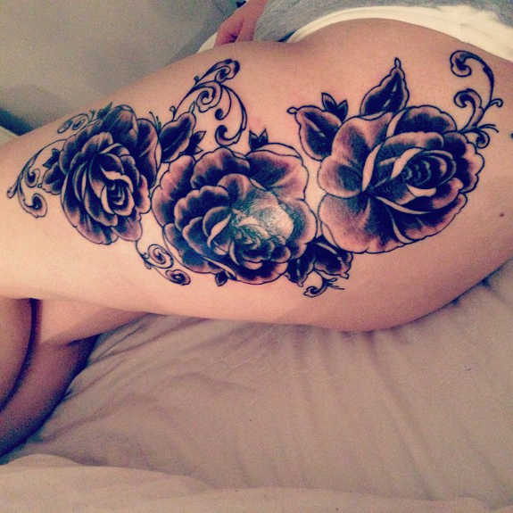 Spicy Thigh Tattoos for Girls