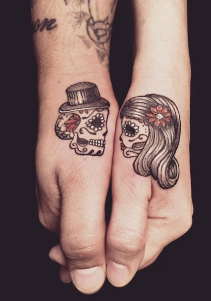 Sugar Skull Couple Tattoo