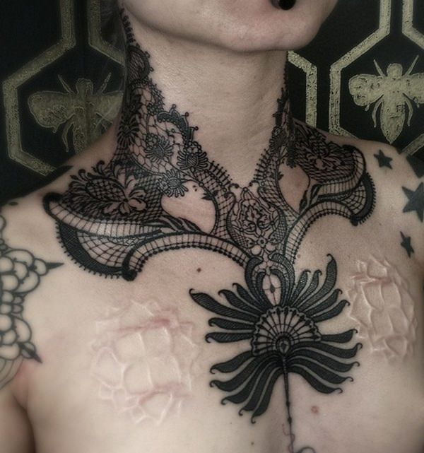Large Shoulder Lace Tattoo