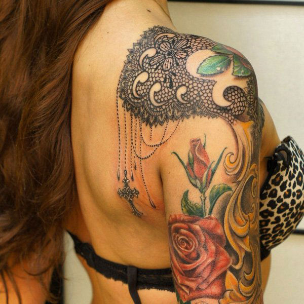 Stunning Rose Lace Tattoo