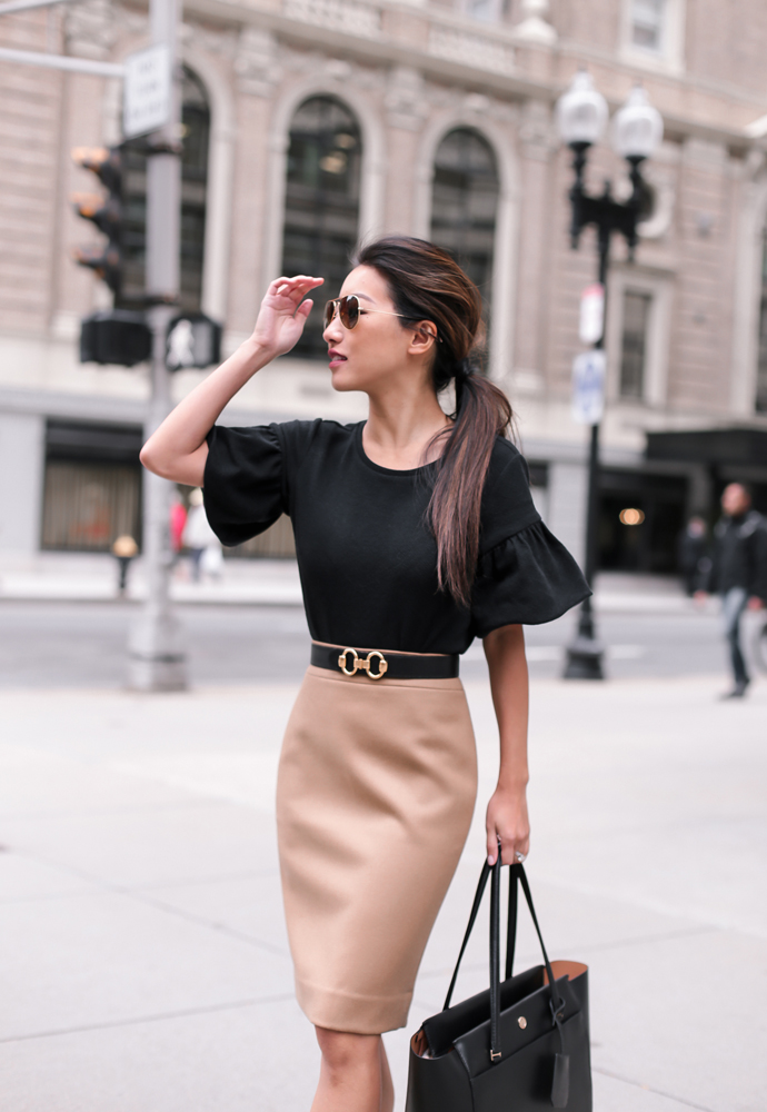Black Petite Top Hermes Belt Pencil Skirt Beautifulfeed