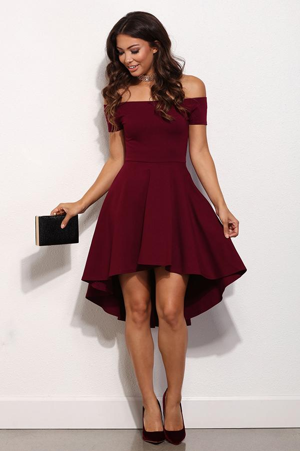 Burgundy Off Shoulder High Low Cocktail Party Dress Beautifulfeed