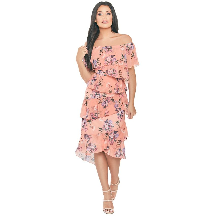 Multi Bardot Asymetrical Frill Printed Dress Beautifulfeed