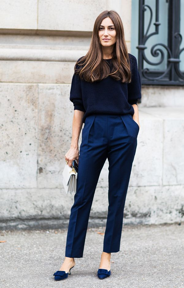 Navy Sweater Paired With Trouser & Kitten Sandal Beautifulfeed